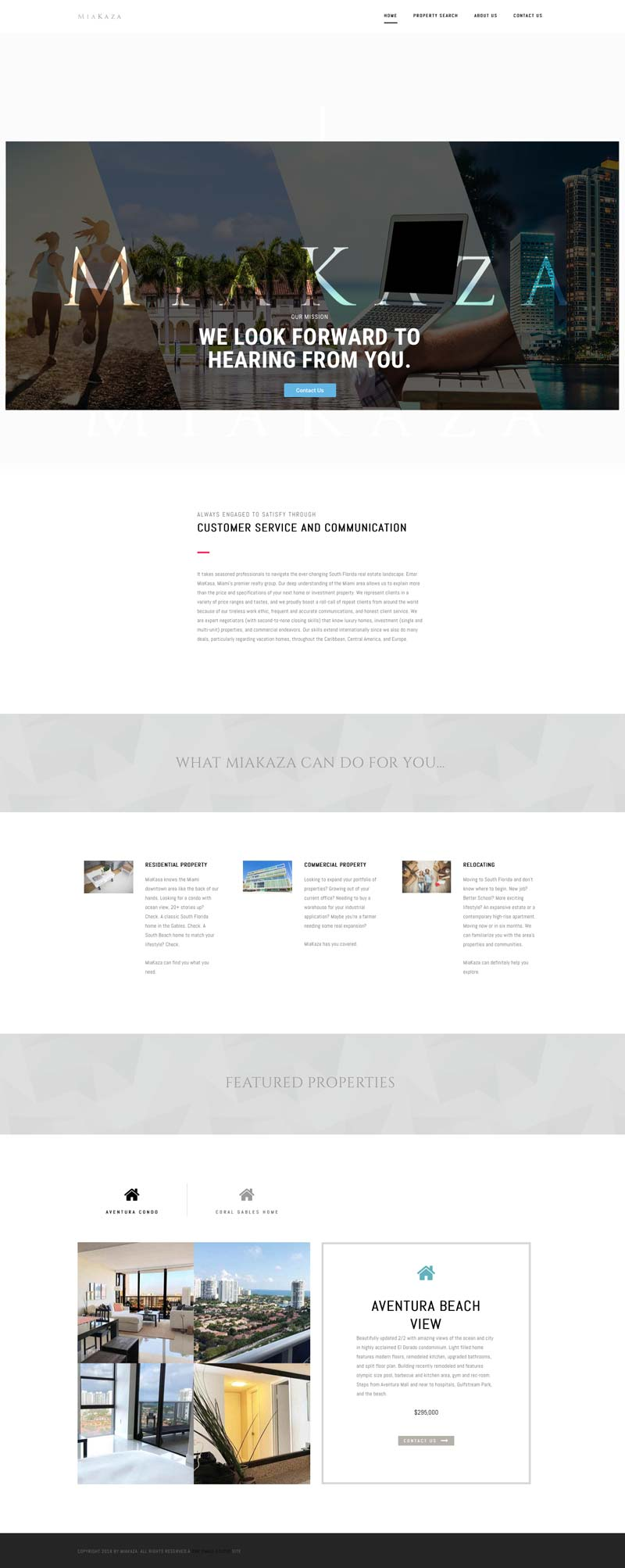 Realtor team website and brand design for MiaKaza. Home page.