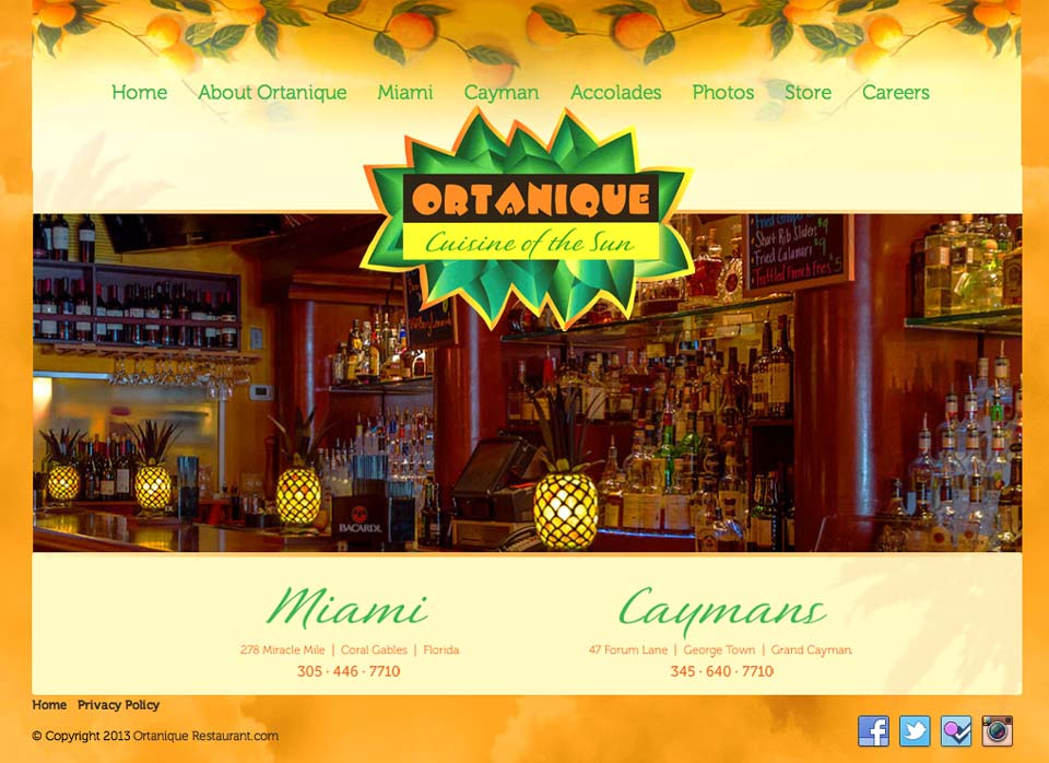 Restaurant website design for Ortanique, Cuisine of the Sun. Home page.