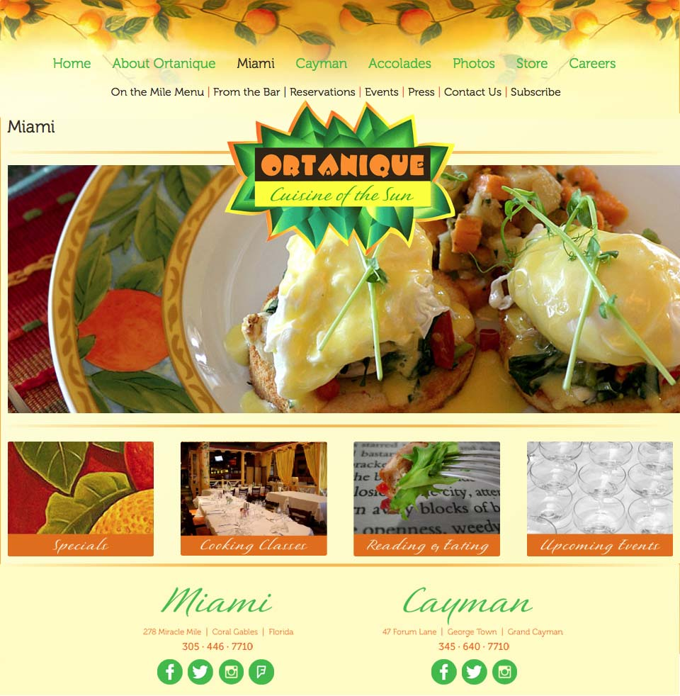 Restaurant website design for Ortanique, Cuisine of the Sun. Miami page.