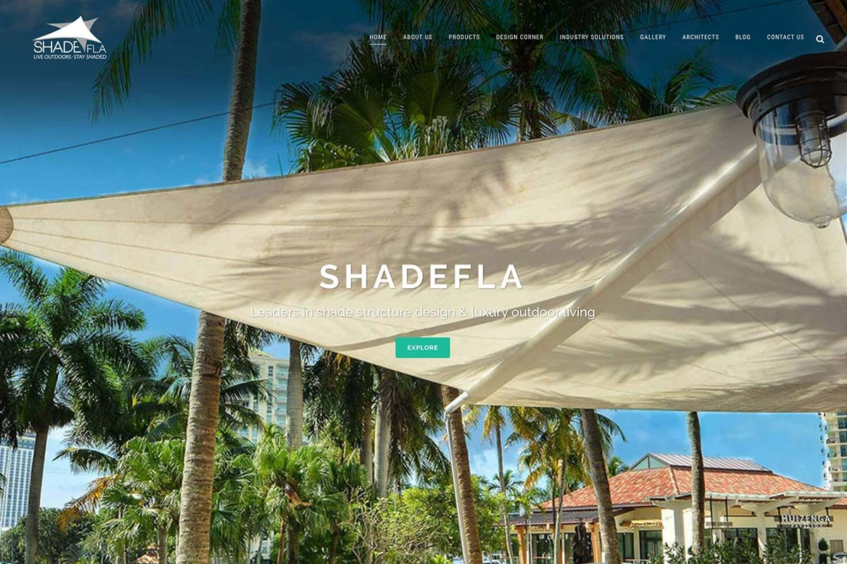 ShadeFLA homepage after redesign. We also developed blog templates for this avid blogger.