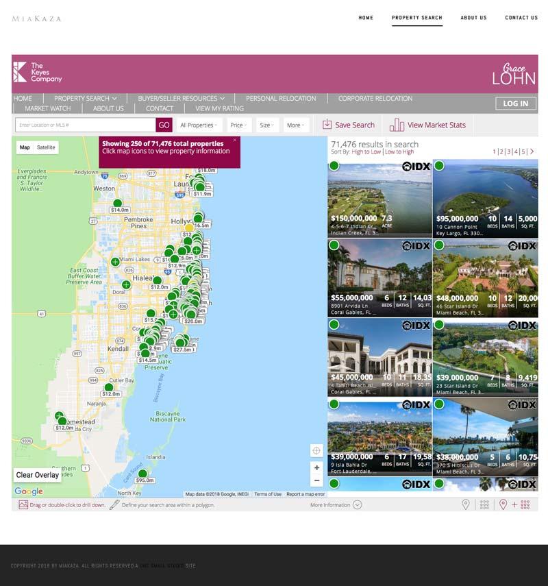 Realtor team website and brand design for MiaKaza. Property search page.