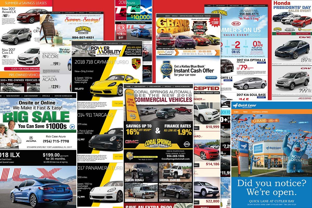 Auto sales email marketing for KOMI's clients.