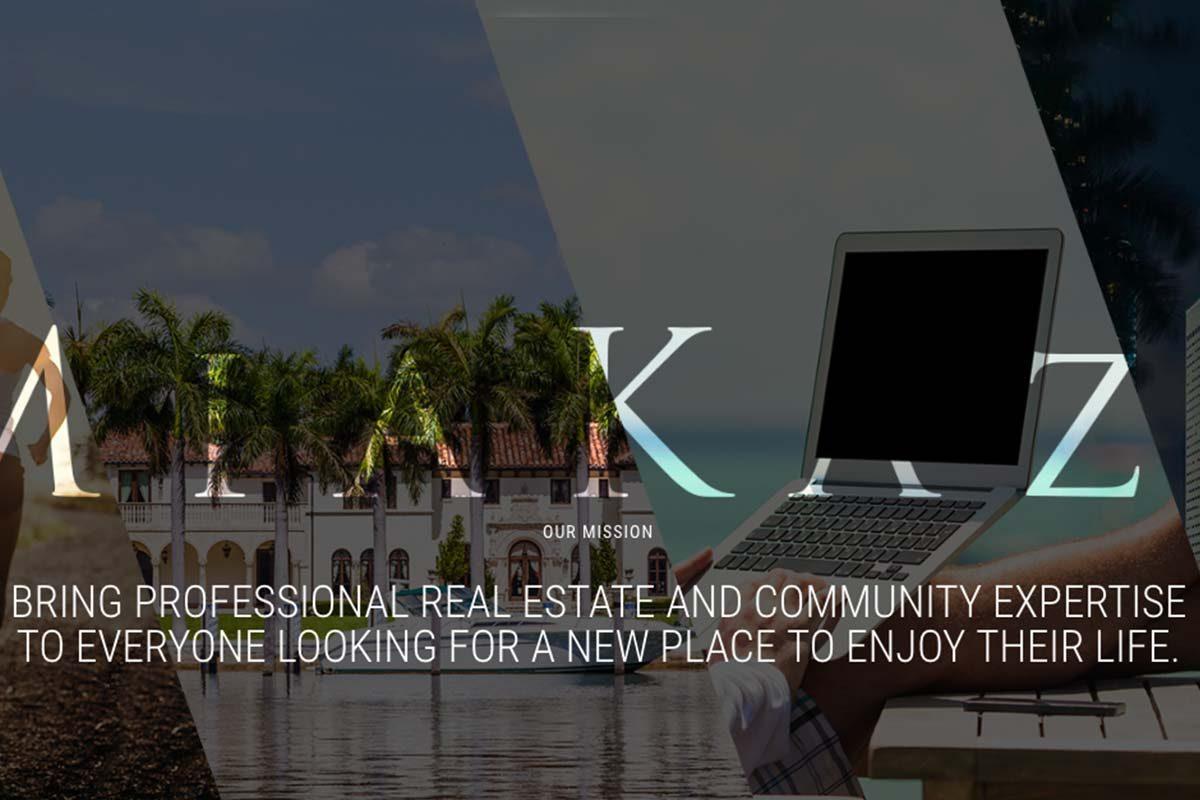 Brand and realtor team website design for MiaKaza, a South Florida real estate team.